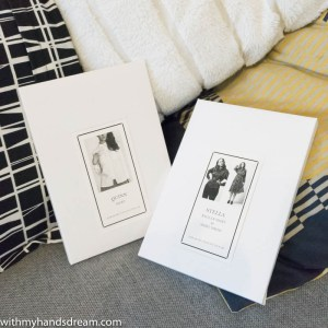 Image: Named sewing pattern envelopes.
