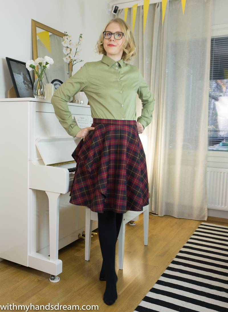 The shirt and skirt combined.