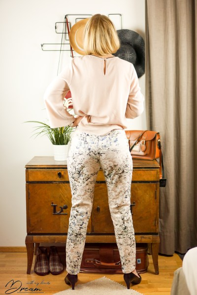 My jacquard trousers from the back.