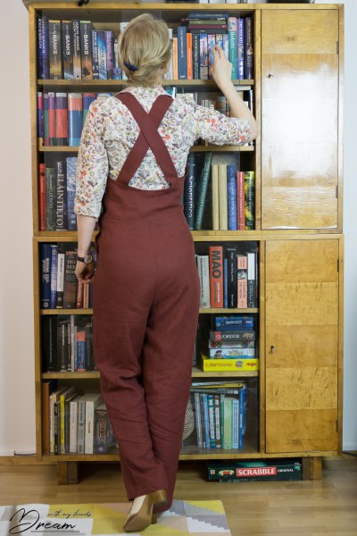 My finished WWII homefront overalls from the back.