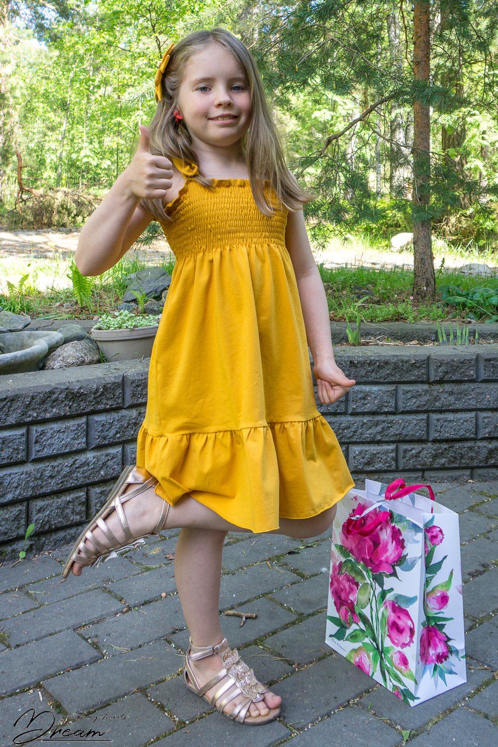 shirred-dress-in-yellow