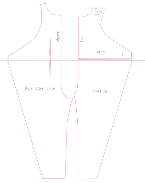 Kielo jumpsuit pattern pieces.