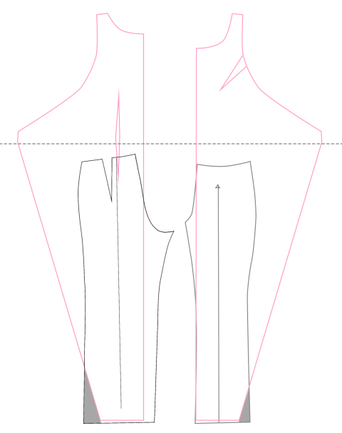 Adding the trouser legs to the Kielo wrap dress by Named clothing.