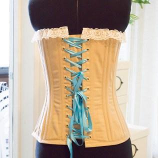 The finished Zara corset on my dressform.