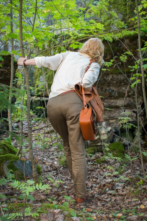 Alpi trousers and a refashioned blouse, back view.