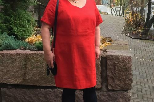 Red ramie dress.