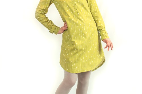 Named Helmi tunic dress made of Spoonflower Cotton Poplin Ultra.