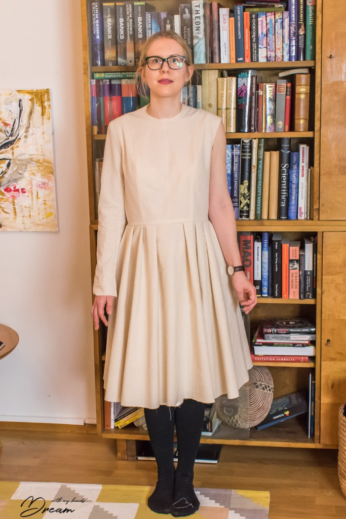 Sewing pattern design: Dress toile, front.