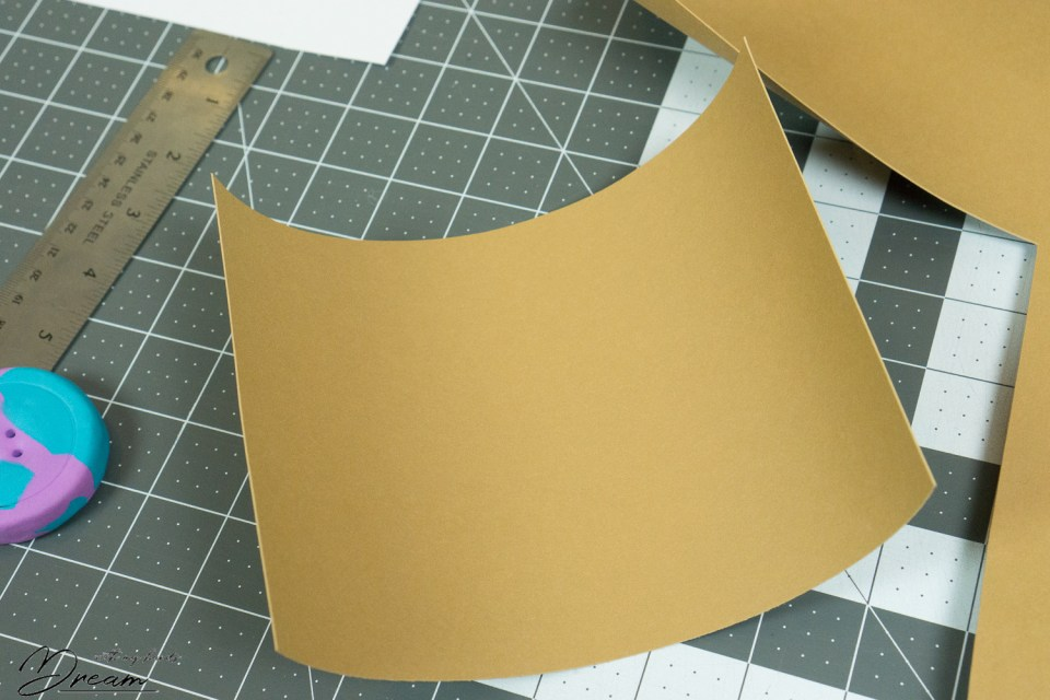 The faux leather paper after cutting.