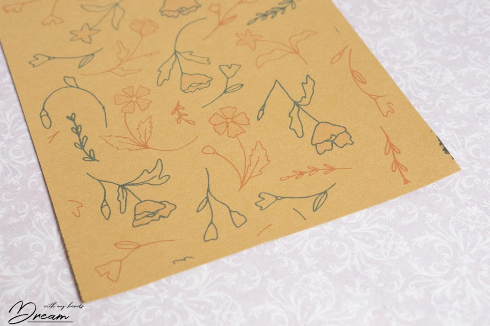 The first printing result with blue and red floral pattern.