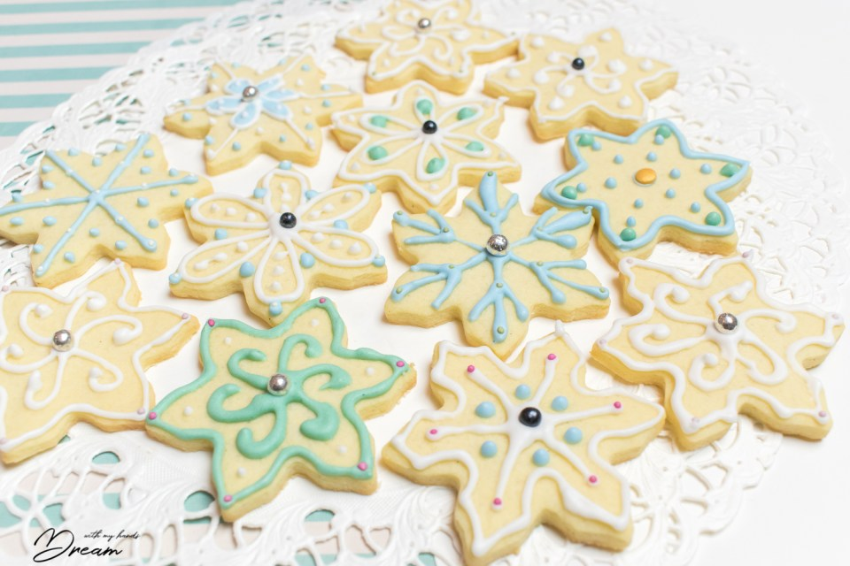 My snowflake shortbread biscuits that I decorated with royal icing.