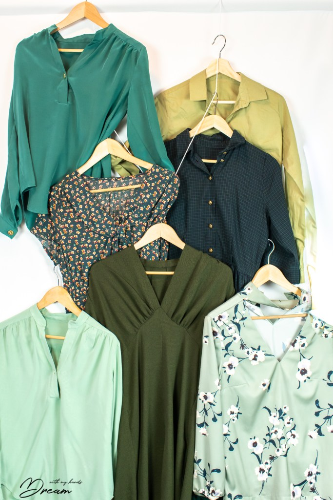 My favourite colour: Some of my green blouses and dresses.