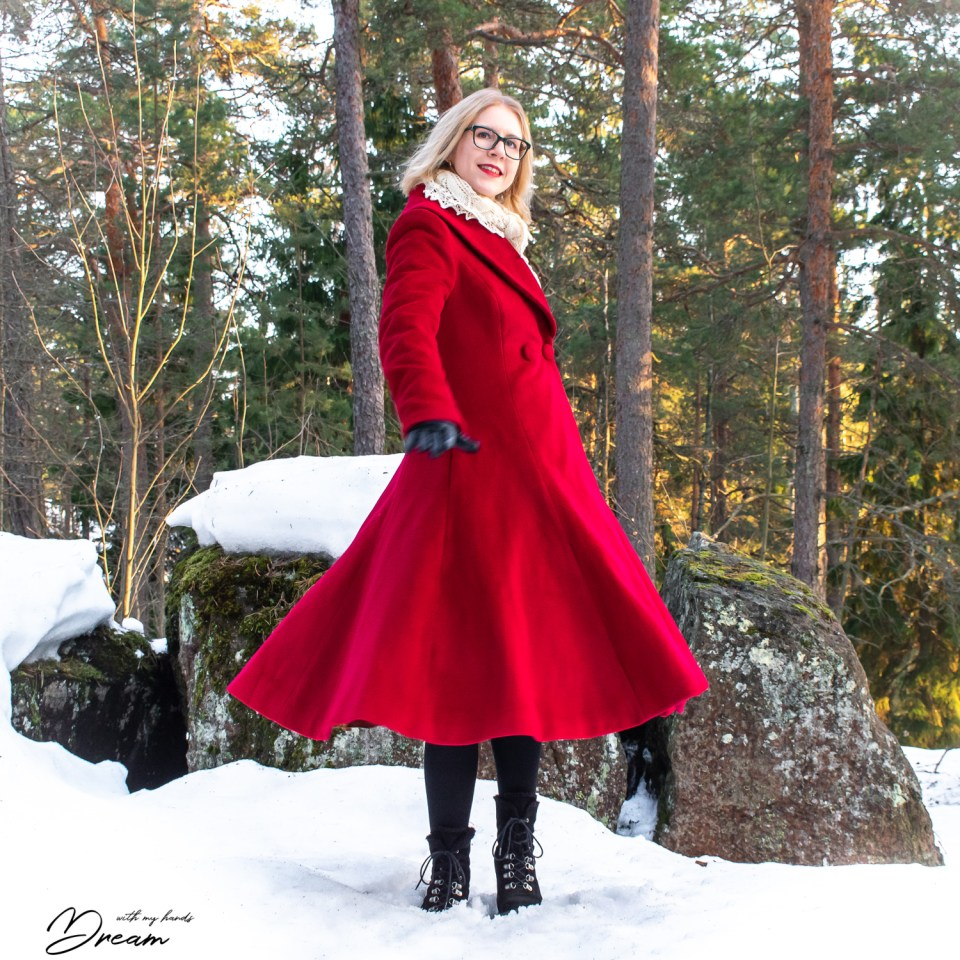 Twirling in my new red V8346 coat.