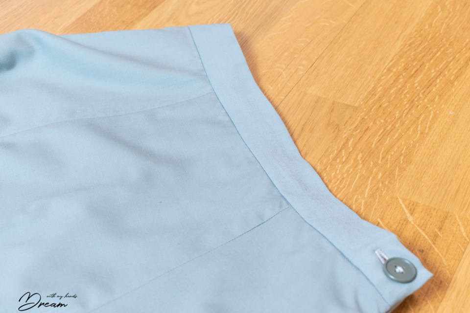 Fixing a wrinkly skirt insertion.