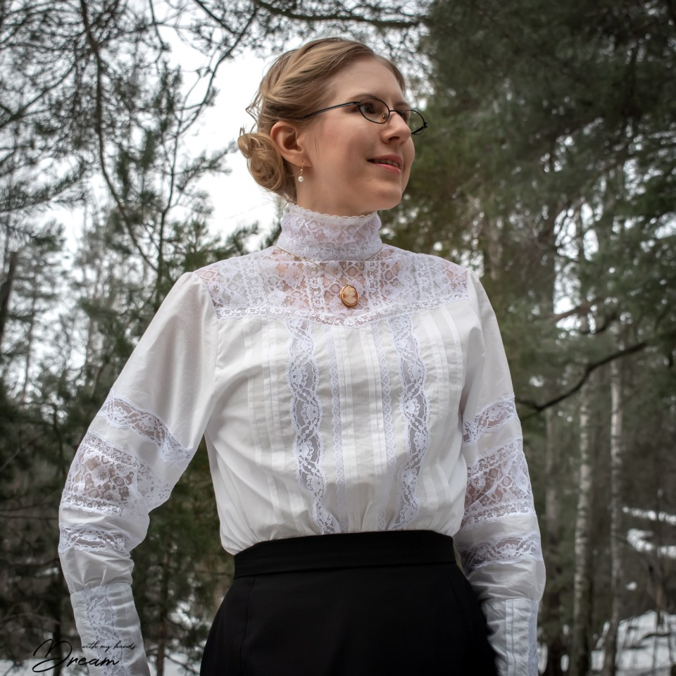 The shirtwaist blouse from the front.