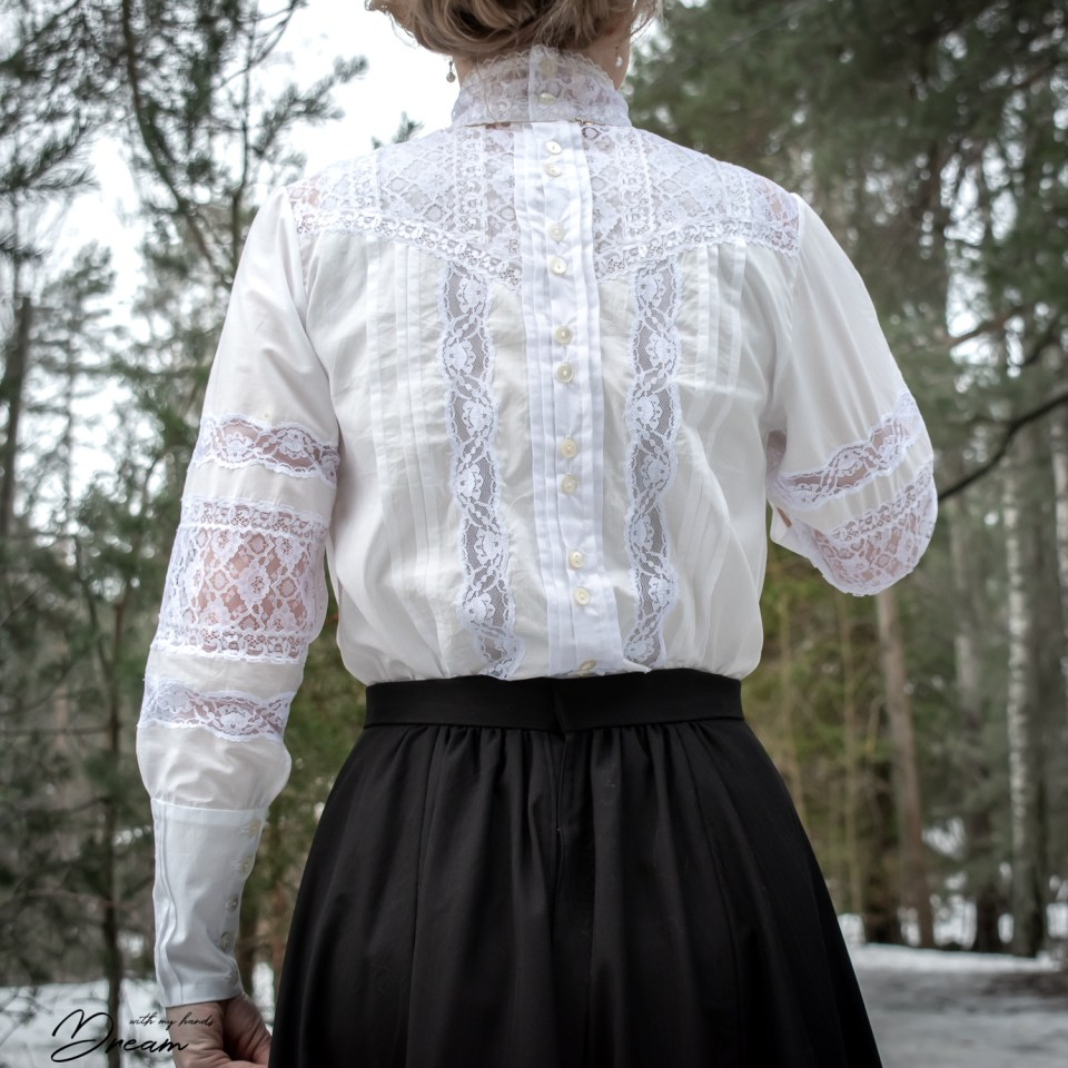 The Edwardian inspired Beatrix shirtwaist blouse from the back.