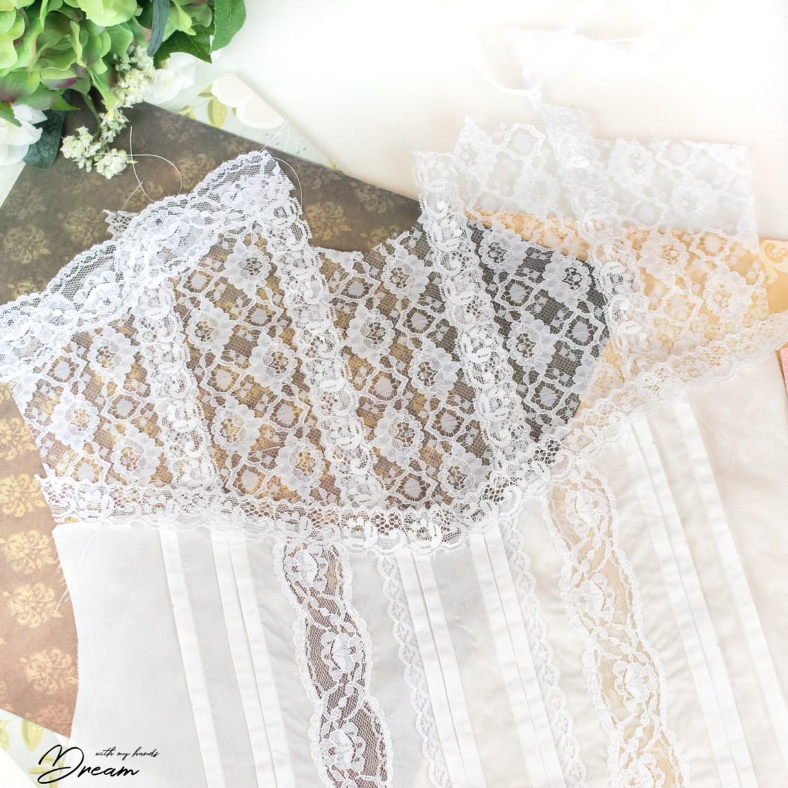 Edwardian lace blouse under construction.