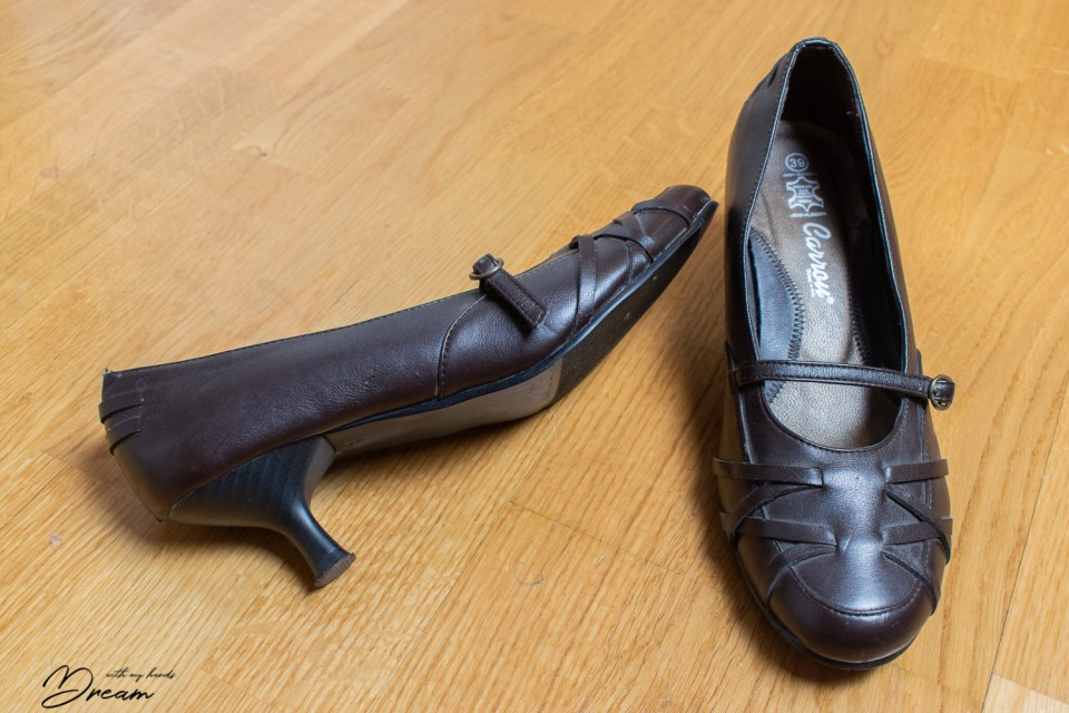 "The original pair of pumps I started with to make my pair of ""regency shoes""."