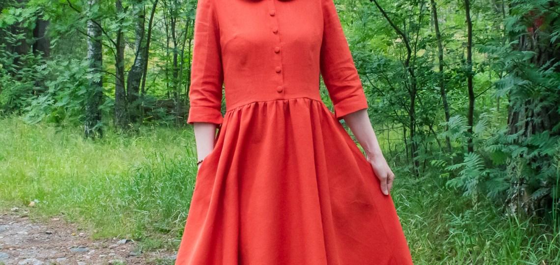 Pattern drafting this orange ramie dress.