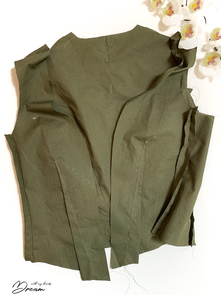 The waistcoat lining.