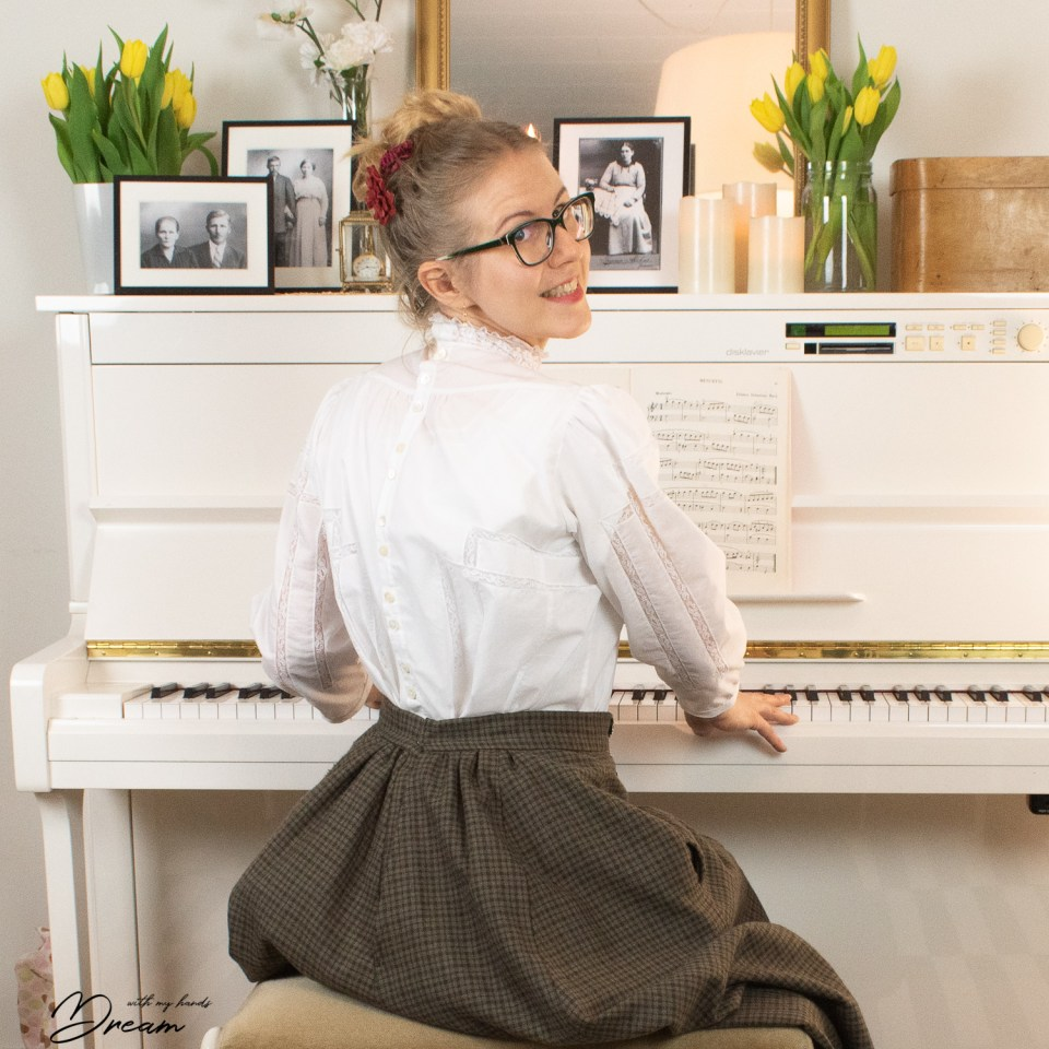 Me at the piano with my Gibson Girl blouse.