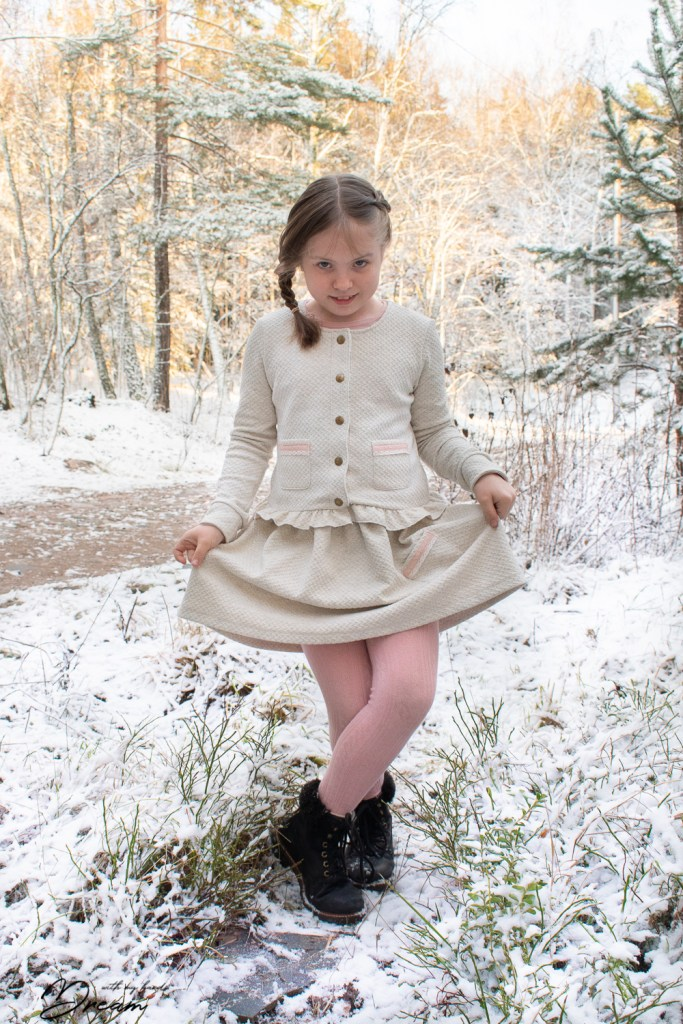 S wearing the finished Elokuu-jacket and the skirt.