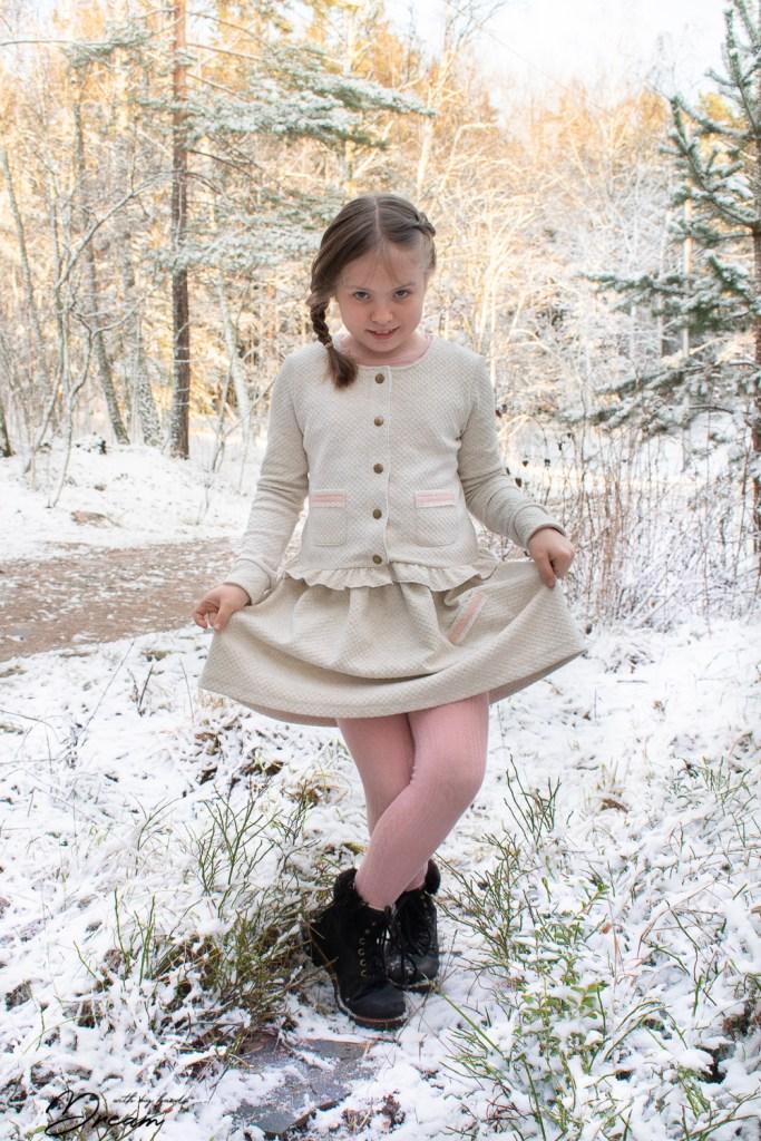 S wearing the finished Elokuu-jacket and the skirt.