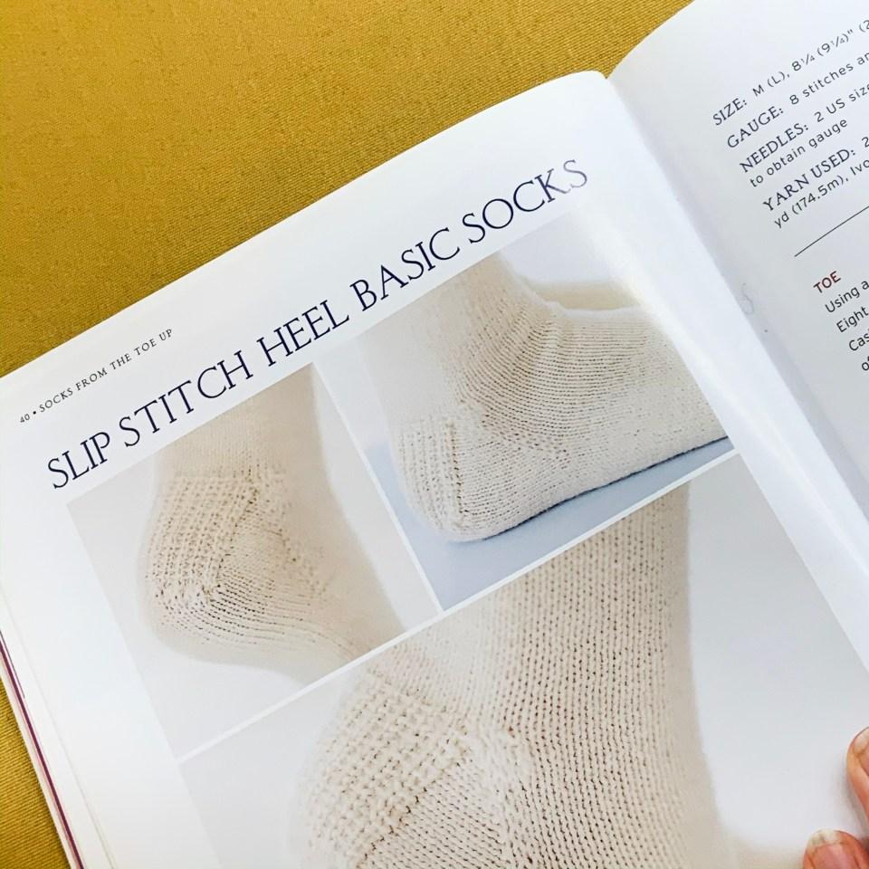 Slip stitch heel basic socks.