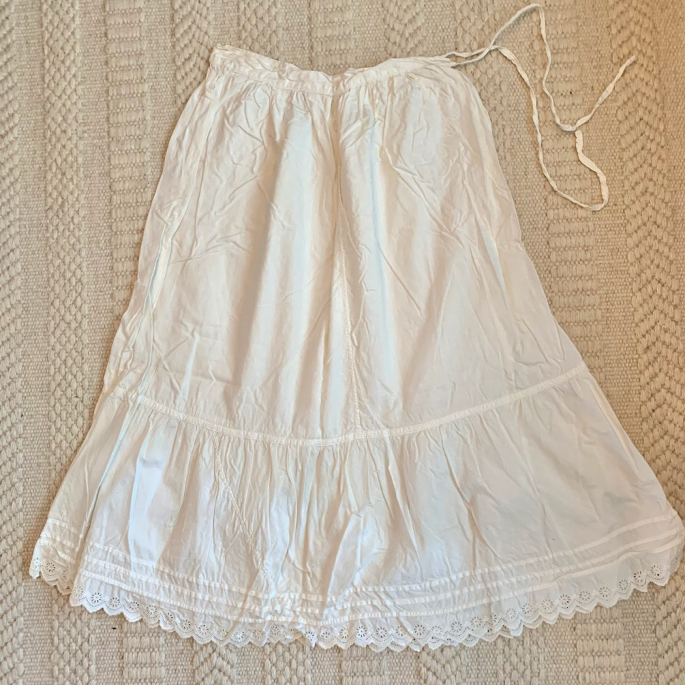 A petticoat with a pin tucked ruffle.