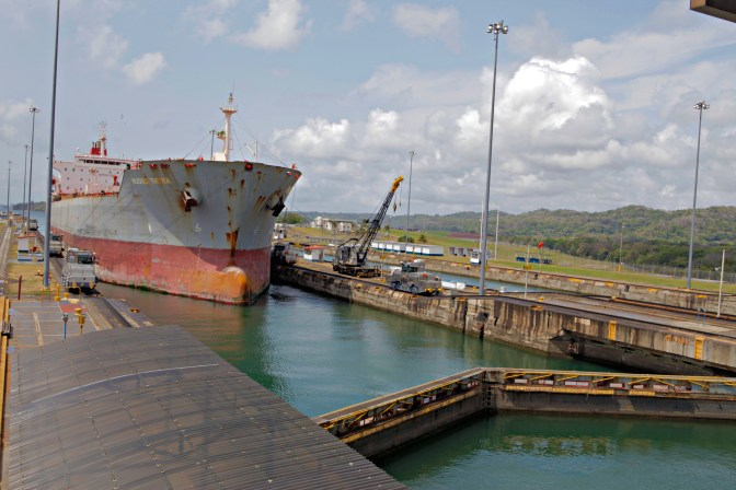 A Panama Canal customer approaches the Gatun lock.