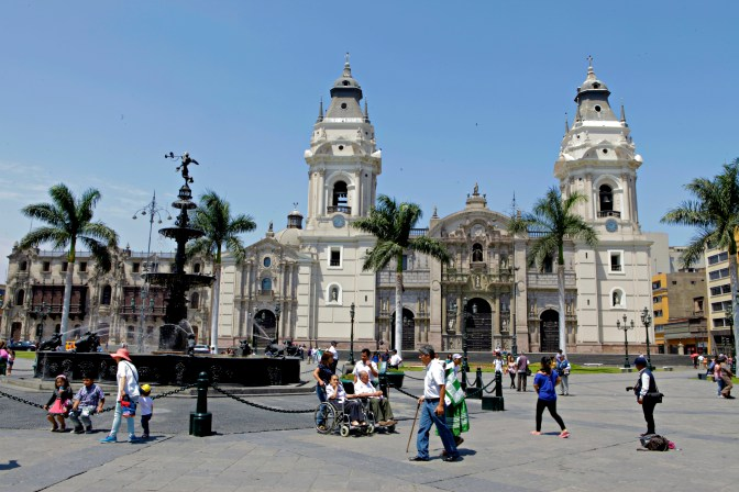 The Cathedral of Lima on the Plaza de Armas.