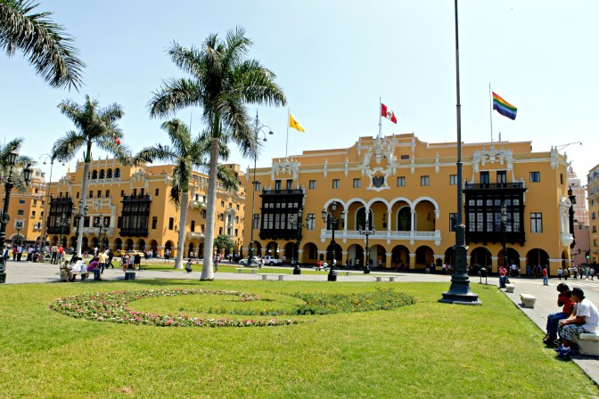 The Municipal Palace of Lima at the Plaza de Armas in the heart of the city.