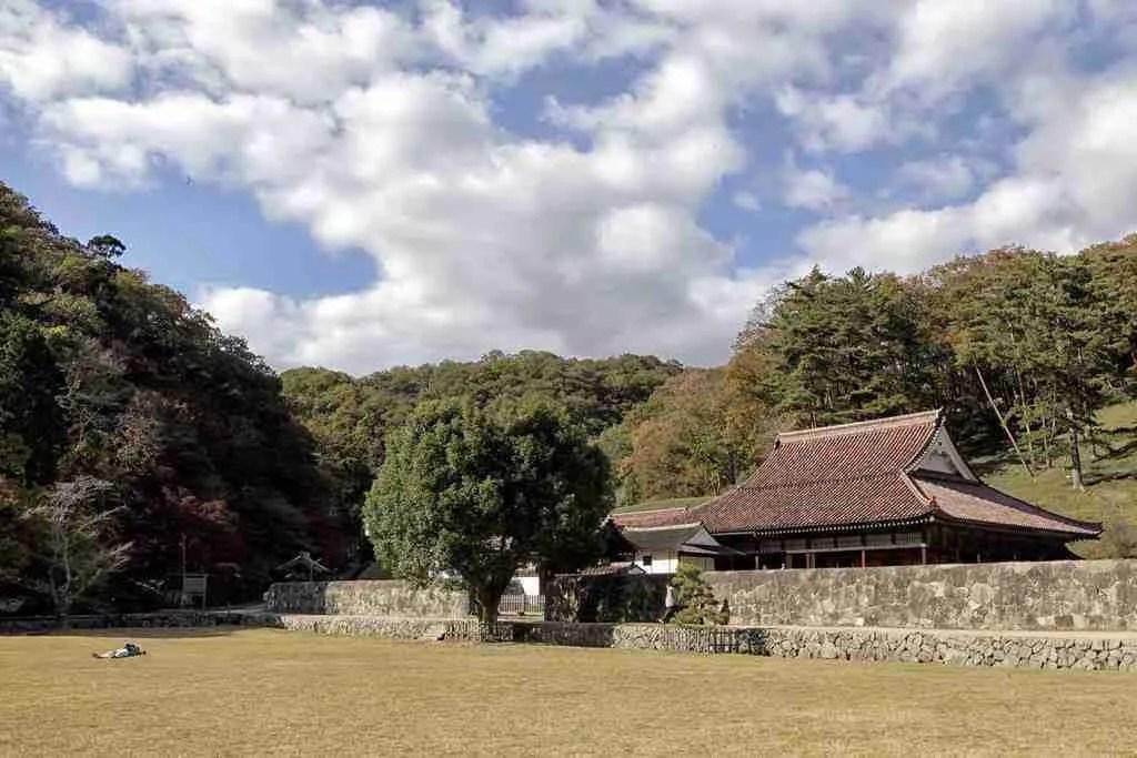 Outside the Old Shizutani School in Okayama Japan