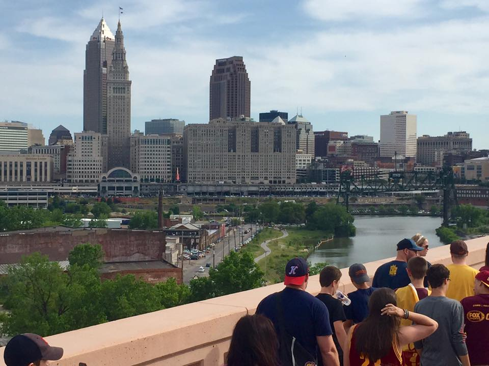Cleveland skyline during Cleveland Cavaliers championship parade