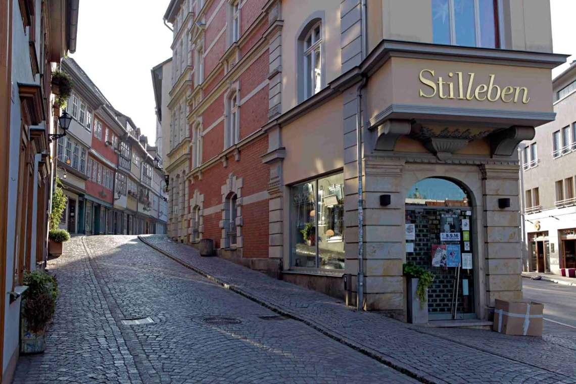 Walking to Kramerbrucke in Erfurt, Germany