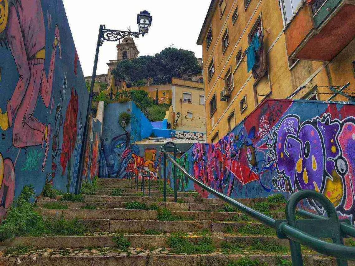 Alfama Lisbon Staircase with Art