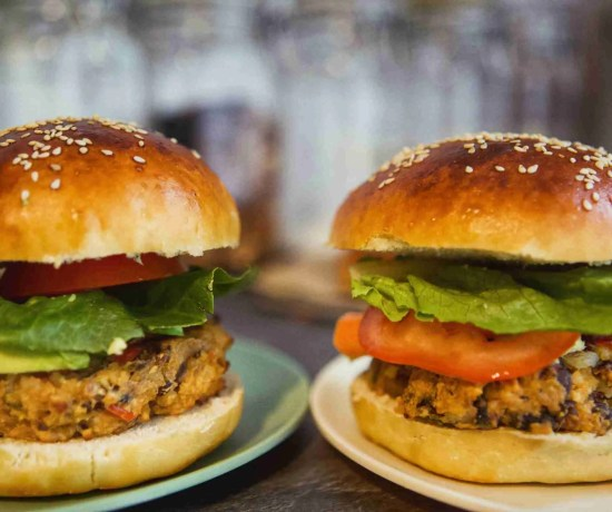 Matzo Kasha Vegetarian Black Bean Burger with Challah Burger Buns