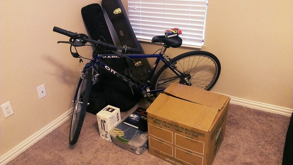 A box, bicycle, two instruments, and a few miscellaneous items.