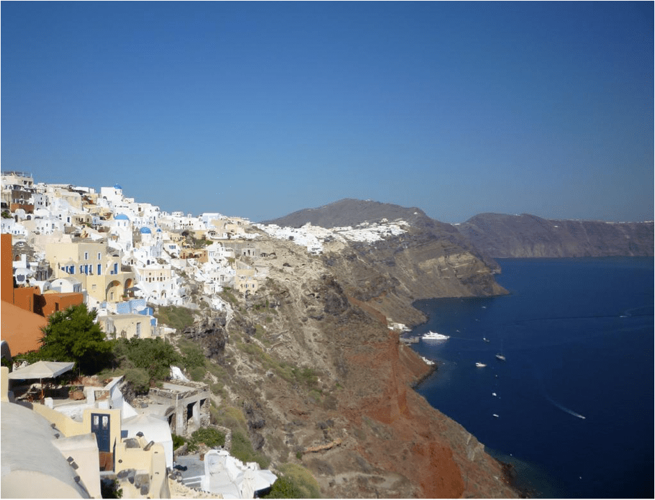 Greek coastline with houses on a cliff over the water