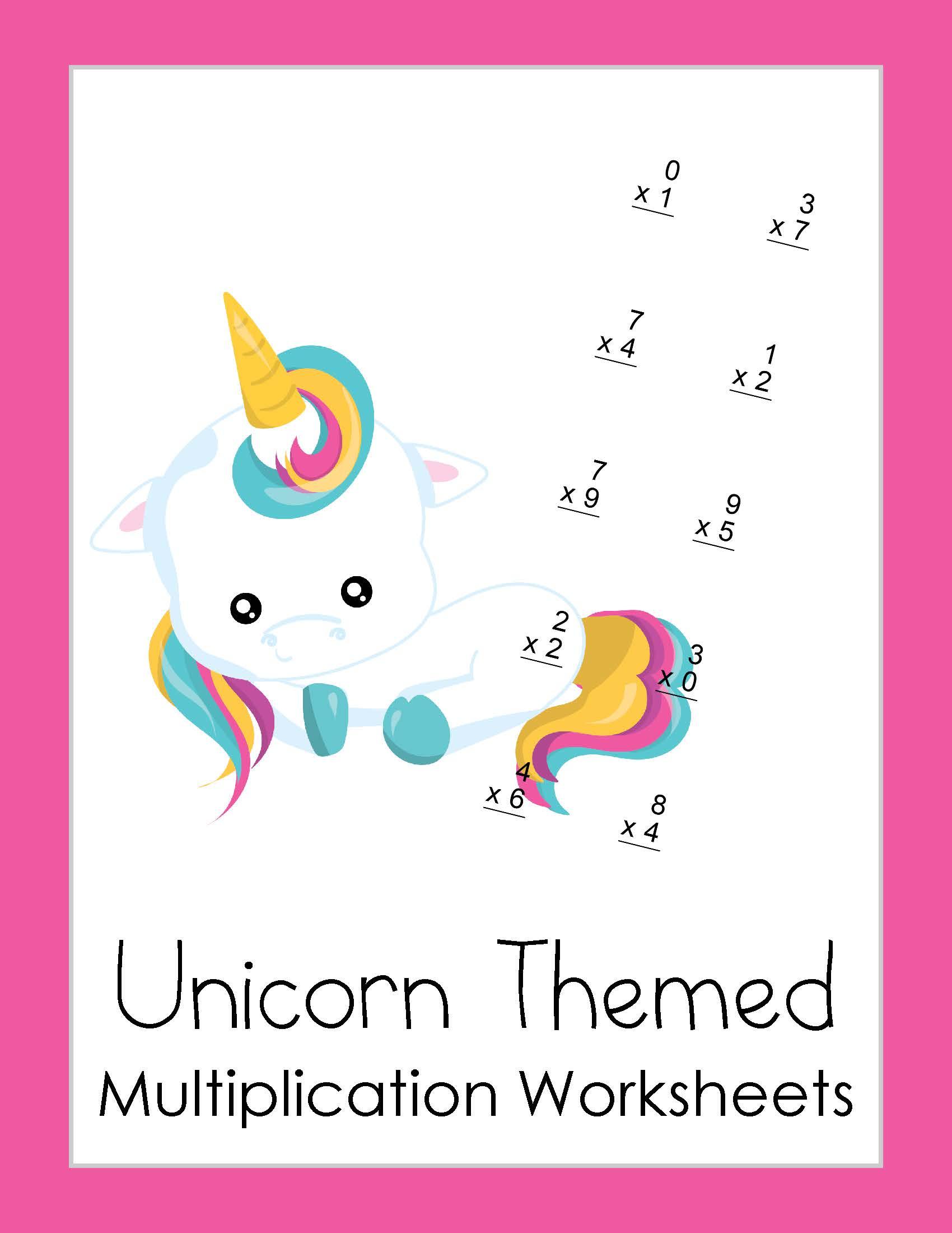 Free Multiplication Worksheets Unicorn Theme Printable