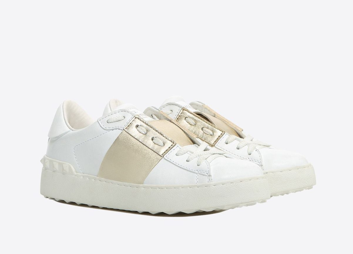 Baskets Valentino blanches et Or
