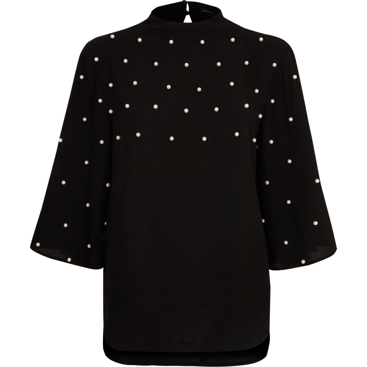 River Island Women's Black Faux Pearl High Neck Cape Top