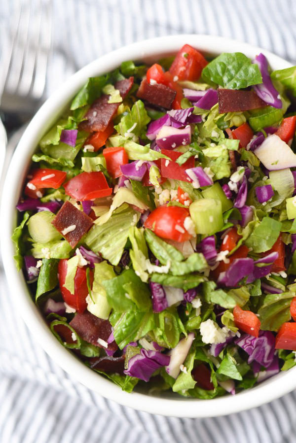 Serve the pork with this White Cheddar and Bacon Chopped Salad! It is a simple salad, filled with flavor in each bite thanks to the way the ingredients are chopped! A great salad to make ahead of time and eat all week long!