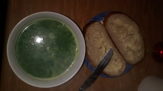 Nettle soup and home-made bread