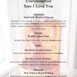 Everybourbon Says I Love You:  The Menu