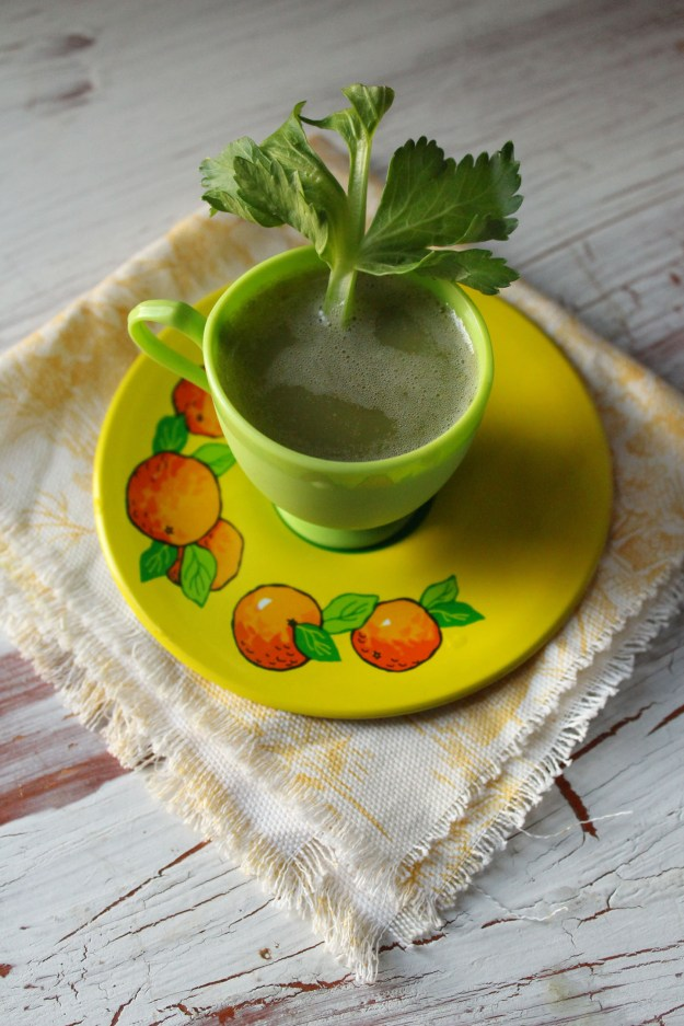 Green Tea Cup and yellow fabric