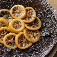 Chocolate, Almond, Lemon Cake with Candied Lemon (Gluten Free)