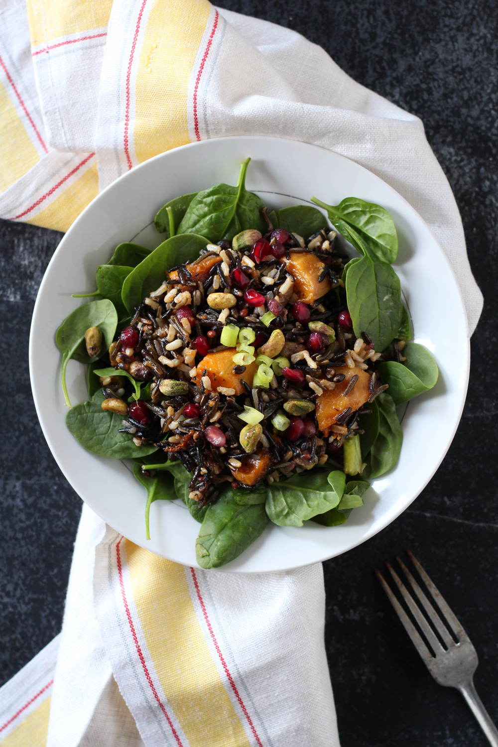 Wild Rice Salad with Pomegranate & Roasted Squash // www.WithTheGrains.com