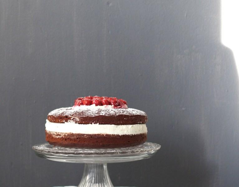 Whole-Wheat, Red Wine Chocolate Cake w/ Honey Whipped Mascarpone