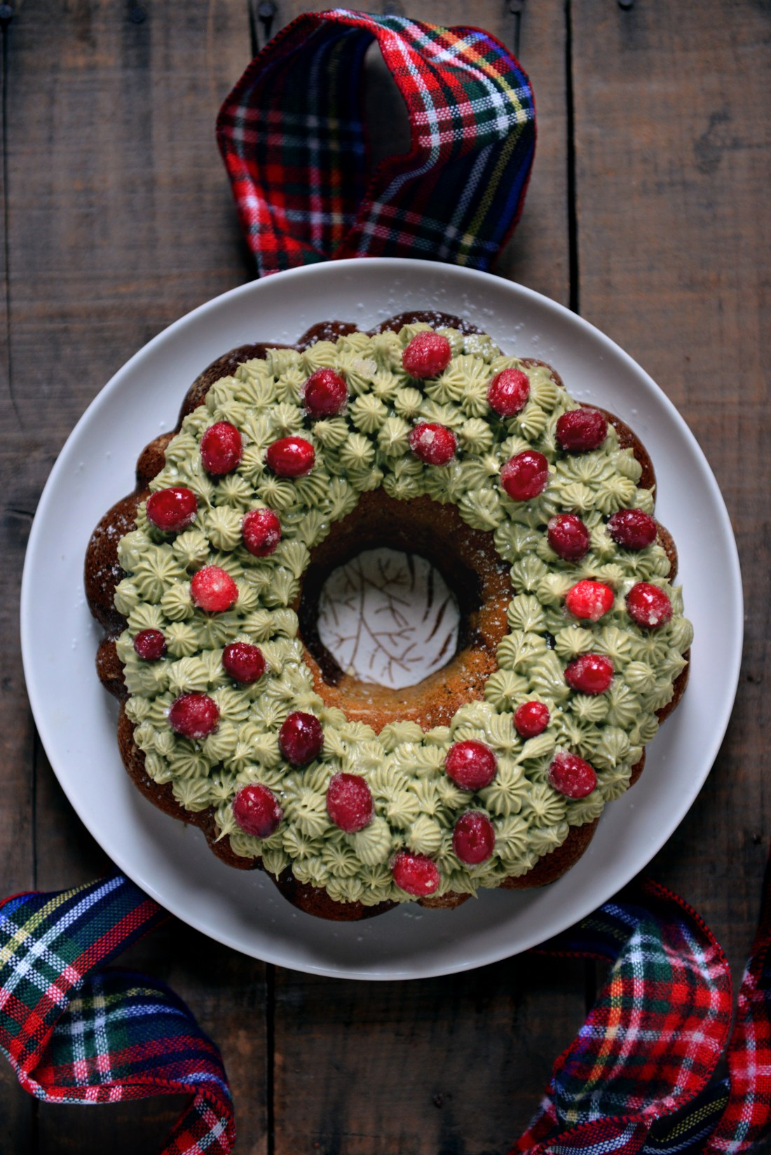 Whole Wheat Chocolate Matcha Bundt Cake w/ Matcha Buttercream // www.WithTheGrains.com